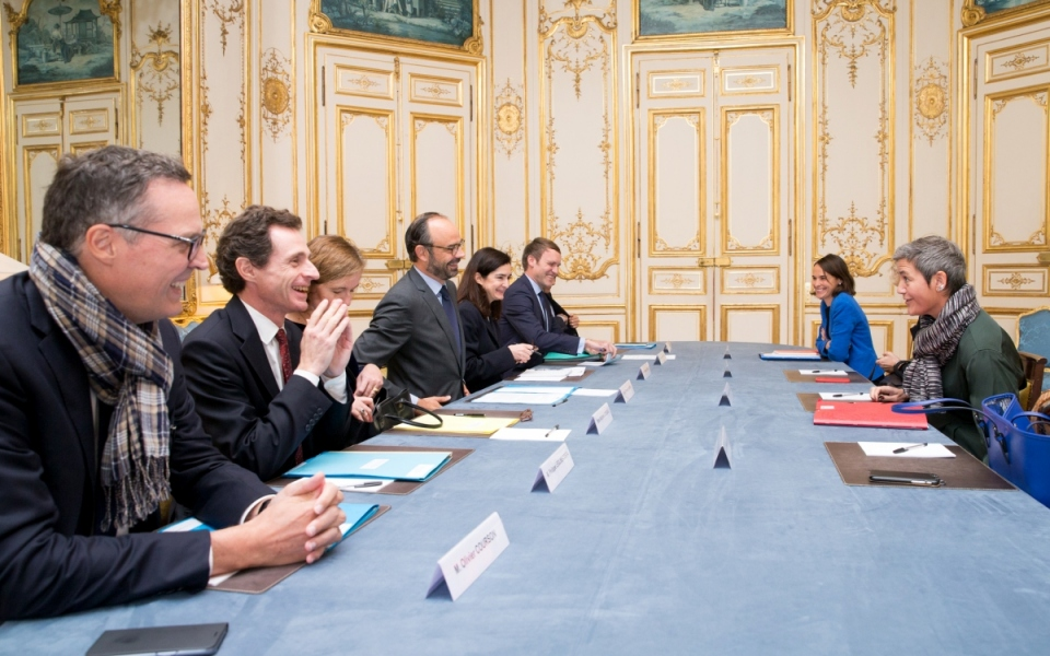 Édouard Philippe, Margrethe Vestager and their delegation members