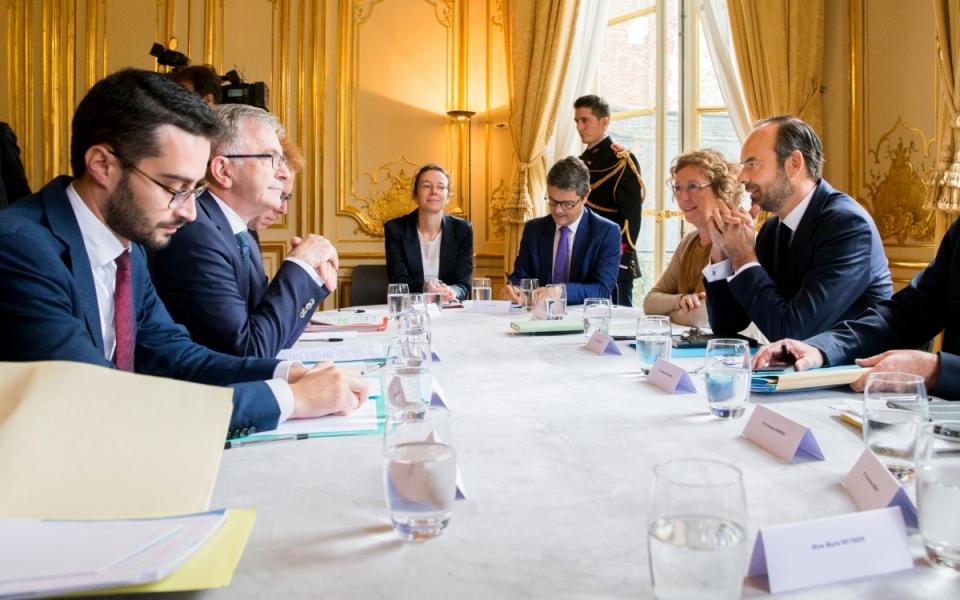 19/10 - François Bonneau, président de l'Assemblée des Régions et sa délégation en séance d'entretien avec Édouard Philippe, Muriel Pénicaud et Jean-Michel Blanquer