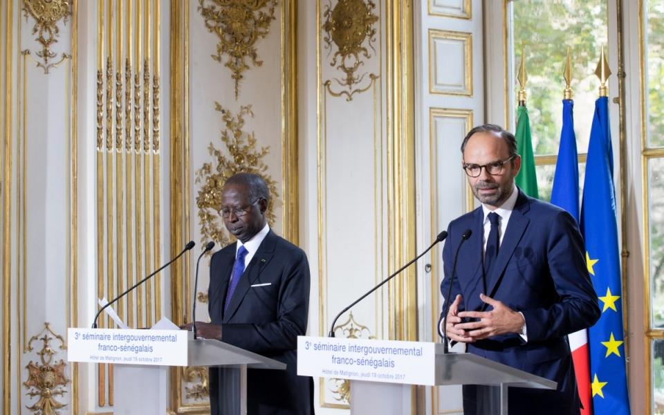Conférence de presse conjointe des deux Premiers ministres, Edouard Philippe et Mahammed Boun Abdallah Dionne