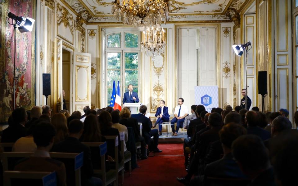 À l'hôtel de Matignon, le Premier ministre, Edouard Philippe présente le programme  « Action publique 2022 »