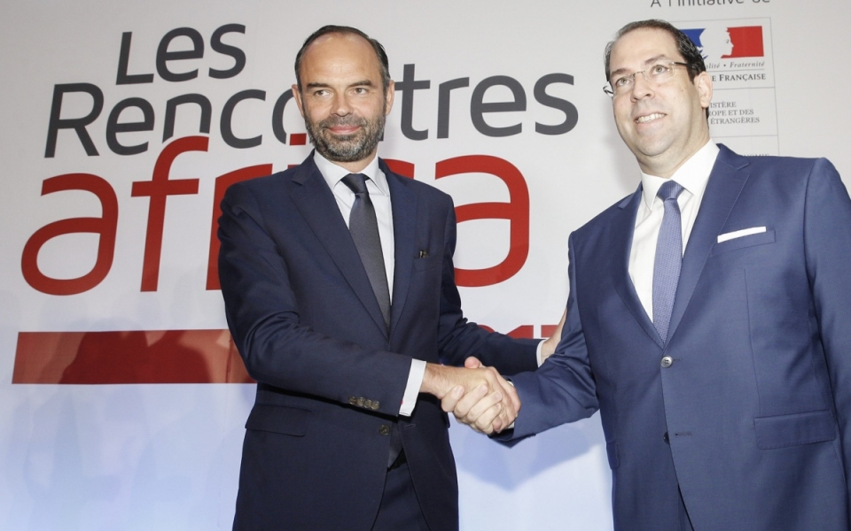 """Édouard Philippe and the Head of the Tunisian Republic's Government at the """"Rencontres Africa"""" economic conference"""