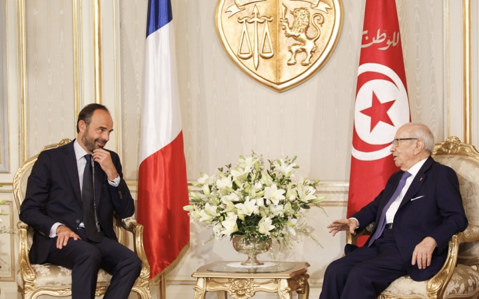 Édouard Philippe in conversation with Beji Caïd Essebsi