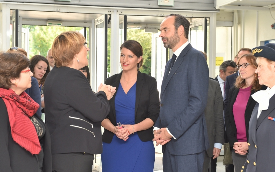Édouard Philippe et Marlène Schiappa ont été accueillis à leur arrivée