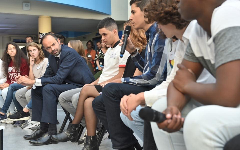 Le Premier ministre a échangé avec les lycéens du lycée René Descartes de Champs-sur-Marne