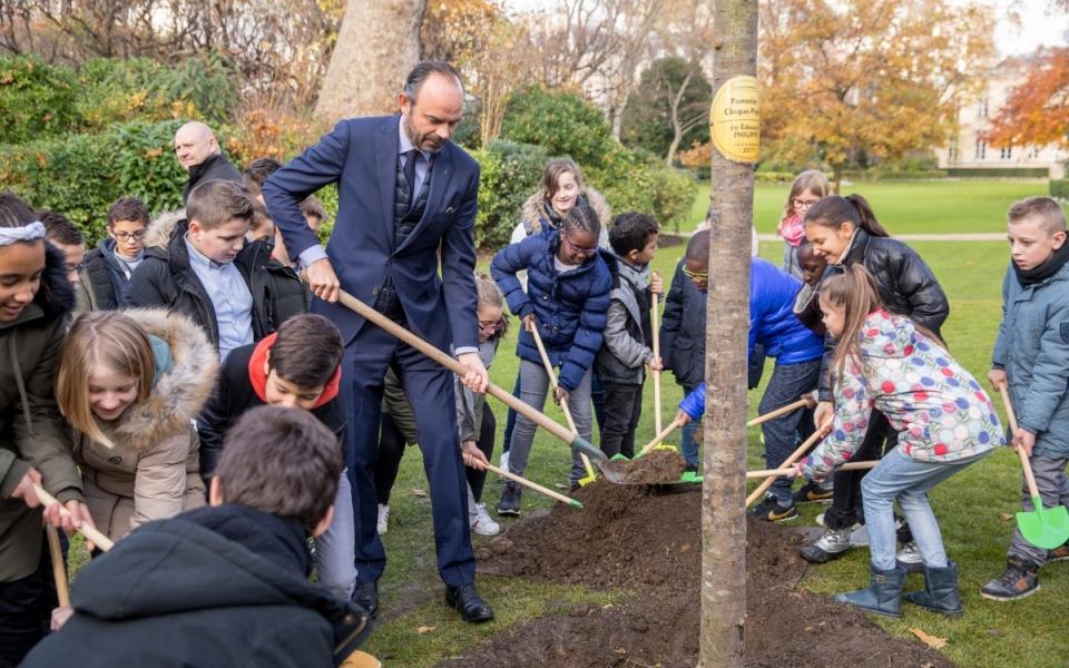 Édouard Philippe et les élèves mettent l'arbre en terre