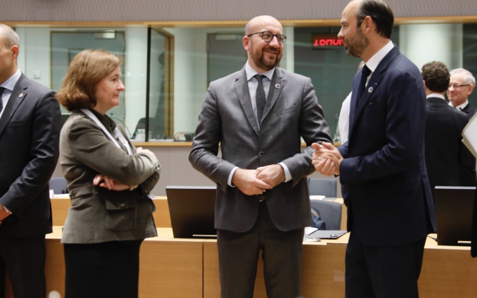 Talks between Édouard Philippe, Nathalie Loiseau and the Belgian Prime Minister, Charles Michel