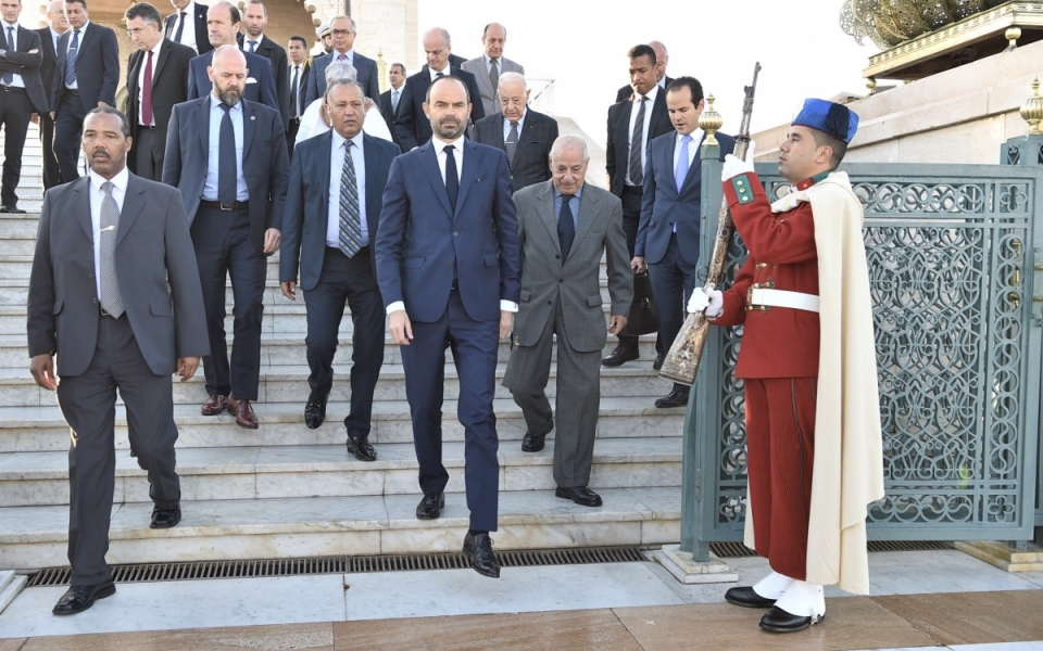 The Prime Minister and his delegation leave the Mohammed V Mausoleum for the Amphitrite Palace Hotel