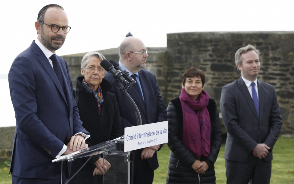 Allocution du Premier ministre, aux côtés des ministres Élisabeth Borne, Stéphane Travert, Annick Girardin et du secrétaire d'État Jean-Baptiste Lemoyne