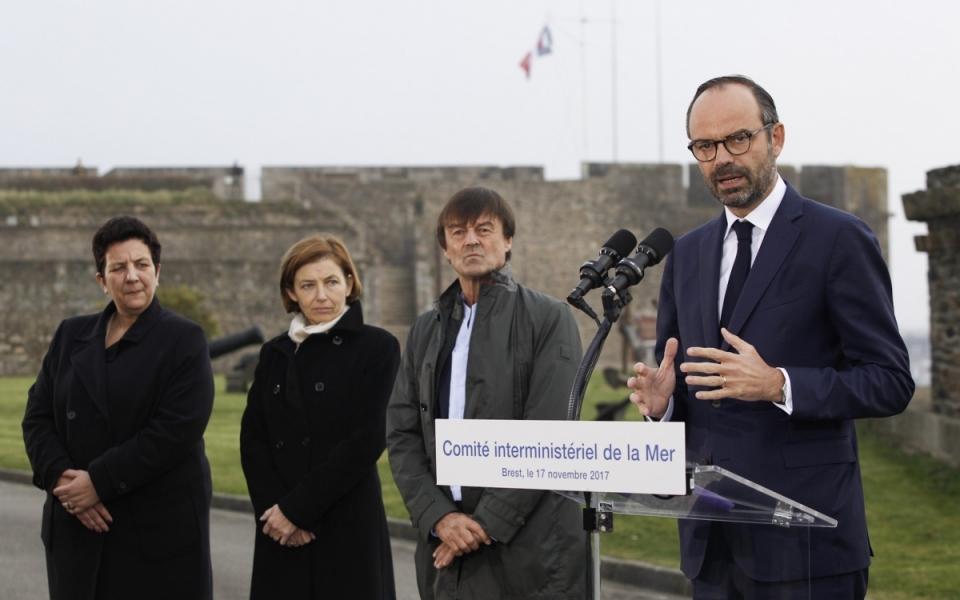 Allocution du Premier ministre, aux côtés des ministres Nicolas Hulot, Florence Parly et Frédérique Vidal