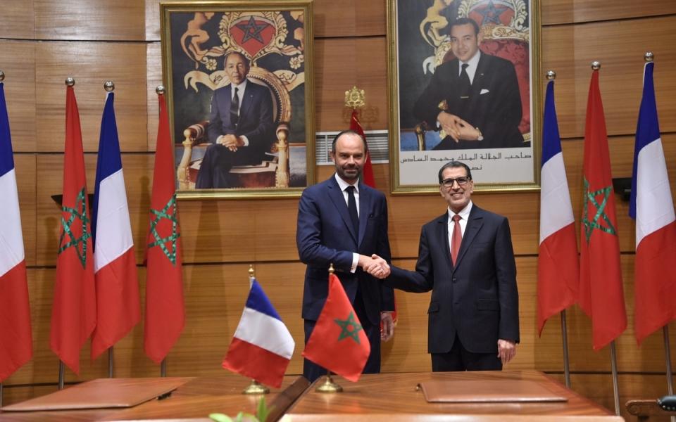 Le Premier ministre, Édouard Philippe, et  Saad Eddine El-Othmani, chef du Gouvernement marocain