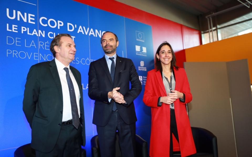 """Edouard Philippe et Brune Poirson au lycée La Fourragère, pour la remise du premier label """"COP d'avance"""""""