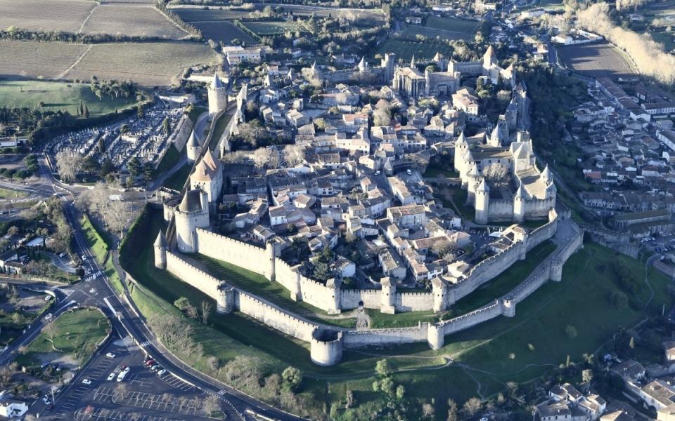 La Cité de Carcassonne vue du ciel