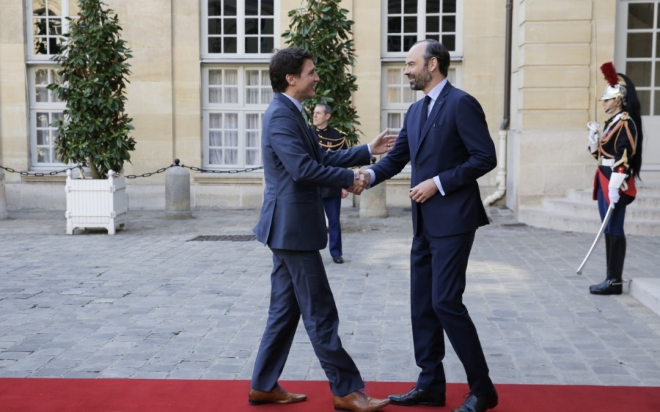 Edouard Philippe accueille Justin Trudeau à Matignon