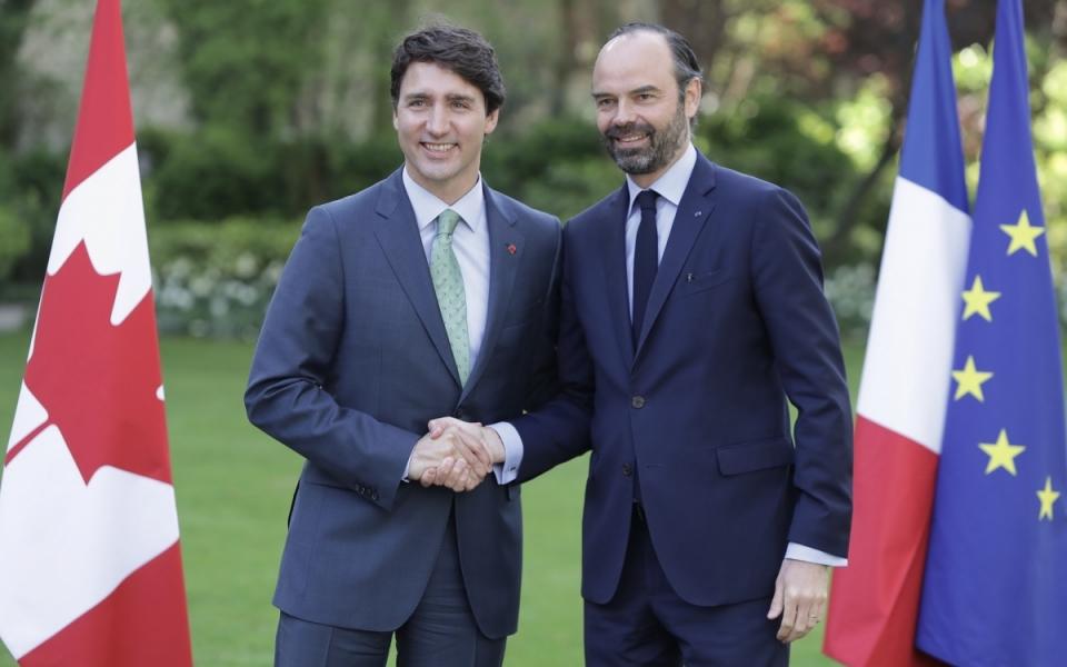 Edouard Philippe et Justin Trudeau à Matignon