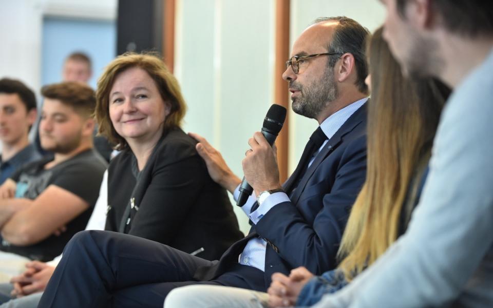 Le Premier ministre, Edouard Philippe, aux côtés de la ministre des Affaires européennes, Nathalie Loiseau