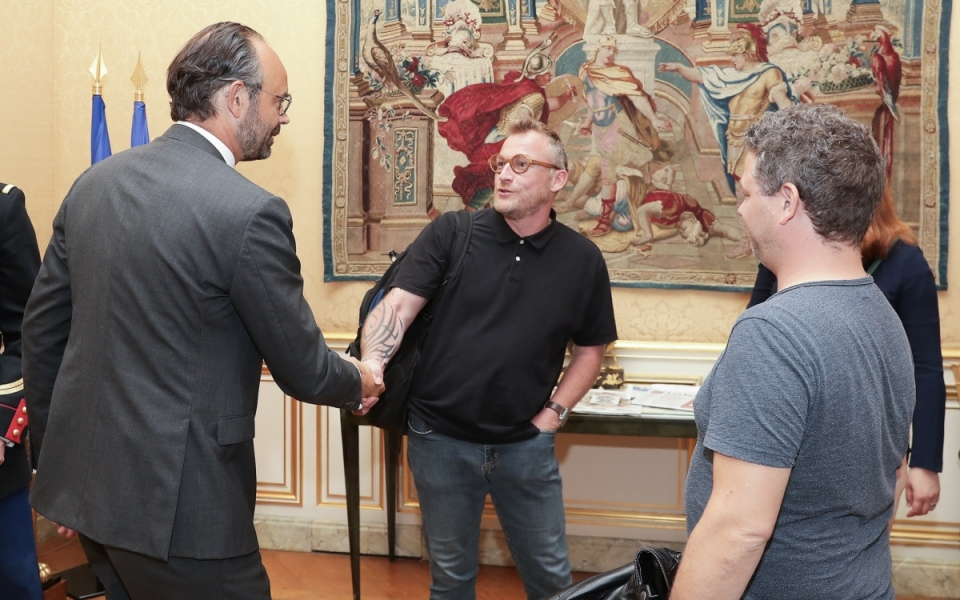 Le Premier ministre, Édouard Philippe, accueille Éric Meyer, porte parole de Sud-Rail