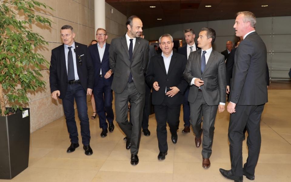Edouard Philippe, Xavier Bertrans (Président du conseil régional des Hauts-de-France) et Gérald Darmanin
