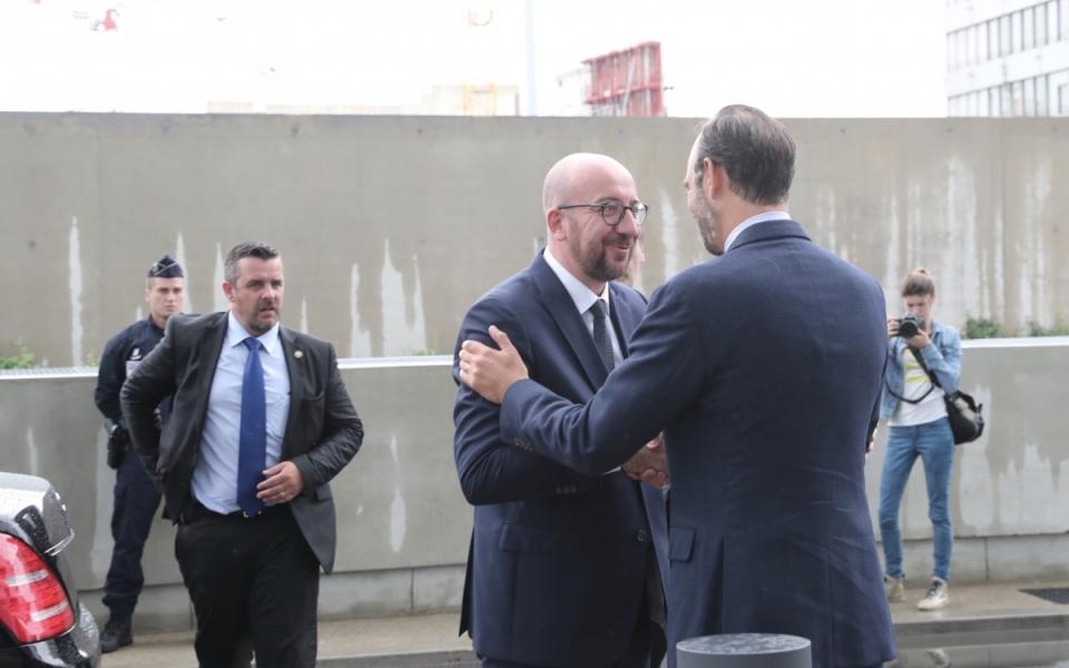 Le Premier ministre, Édouard Philippe reçoit son homologue, Charles Michel à son arrivée au nouveau Palais de Justice de Paris (17ème)