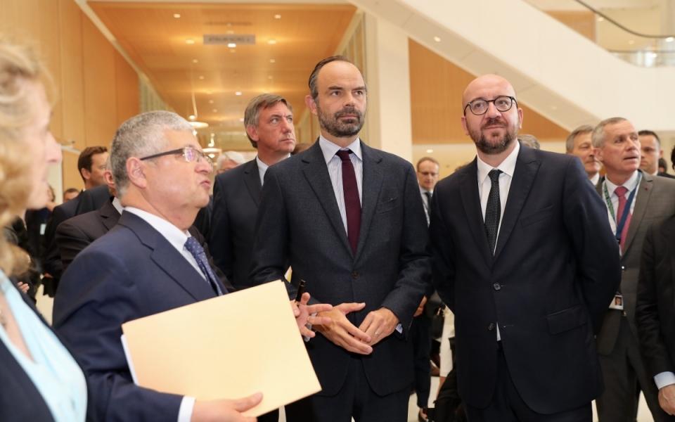 Edouard Philippe et Charles Michel dans les locaux Palais de Justice de Paris (17ème)