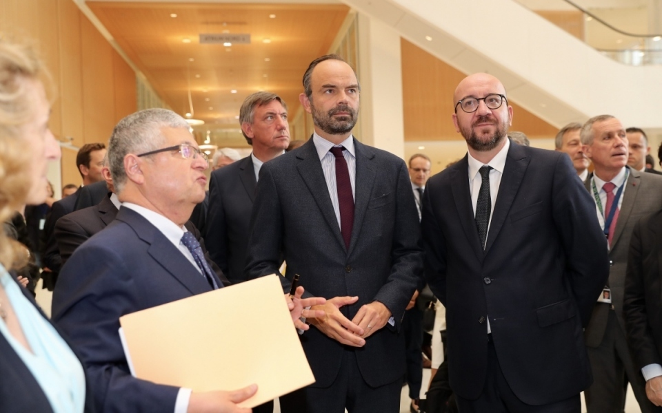 Édouard Philippe and Charles Michel at the Palais de Justice