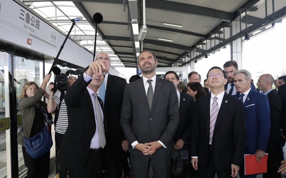 Le 23 juin 2018 : la délégation française dans le métro PuJiang Line, première ligne de métro automatisée de Chine, opérée par l'entreprise Keolis.