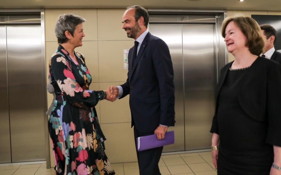 Edouard Philippe et Nathalie Loiseau accueillis par la commissaire européenne Margrethe Vestager