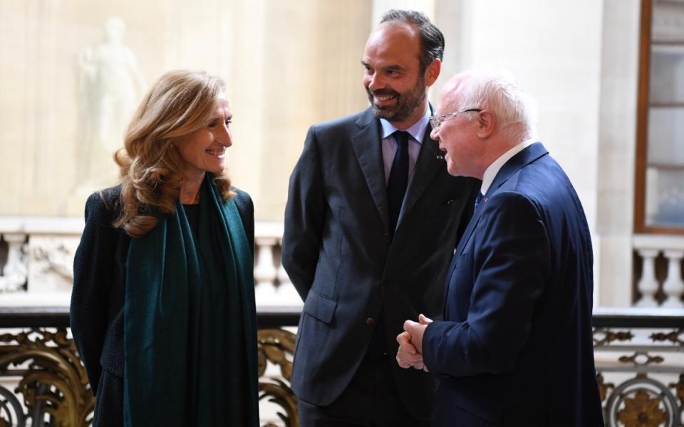 Le Premier ministre, Édouard Philippe, Nicole Belloubet, la garde des Sceaux et Bruno Lasserre, vice-président du Conseil d'État.