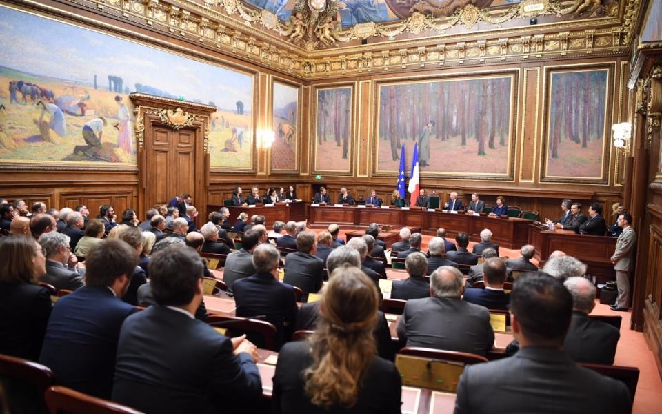 Le Premier ministre, Édouard Philippe, au cours de l'assemblée générale du Conseil d'État