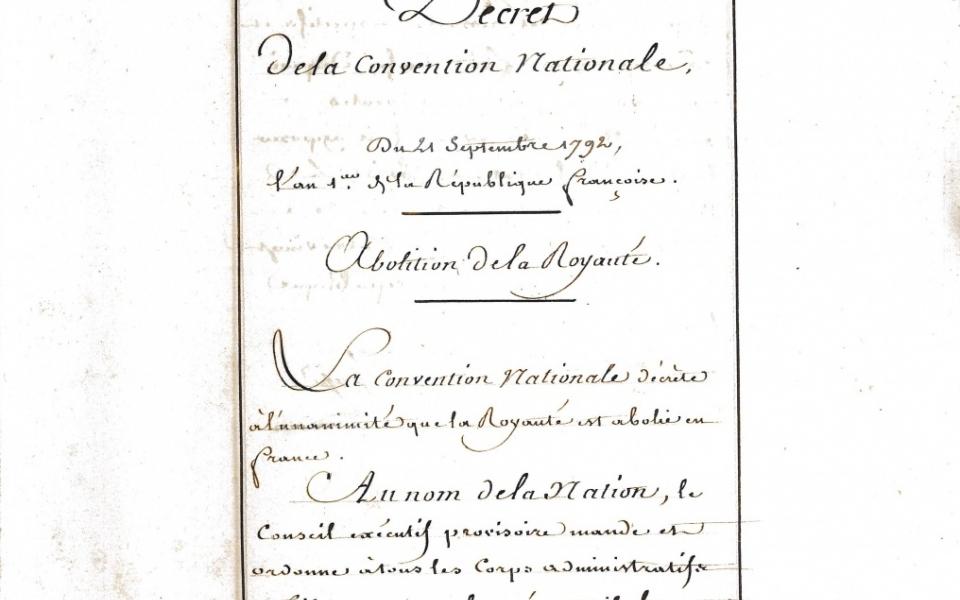 Décret de la Convention nationale de l'an I de la République abolissant la royauté