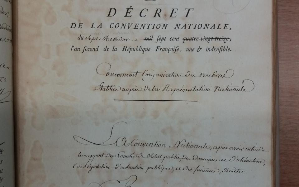 Loi du 7 messidor, an II, sur l'organisation des Archives nationales (page 1)