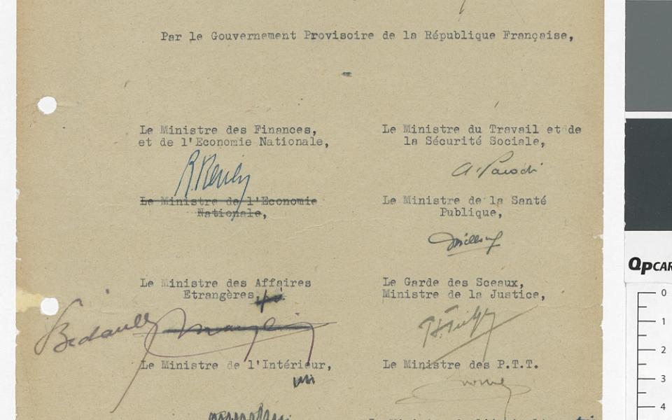 L'ordonnance portant organisation de la Sécurité sociale