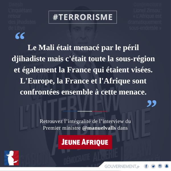 """Vignette citation de Manuel Valls à l'hebdomadaire """"Jeune Afrique"""""""