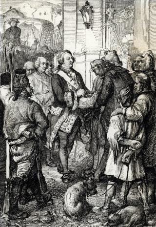 Louis XVI recoit du maire Bailly la cocarde tricolore, emblème de la Révolution