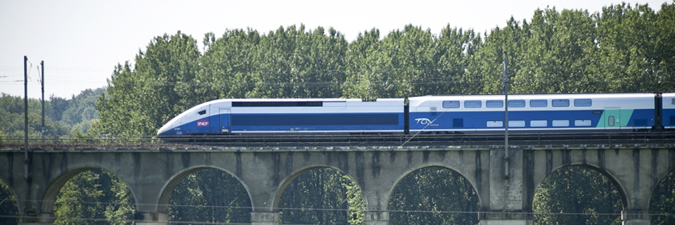 Photo du TGV Lyria faisant le trajet Rhin-Rhône.