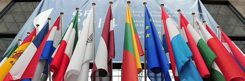 Photo des drapeaux du Conseil européen