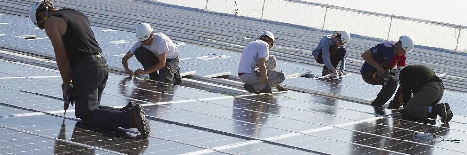 Chantier de panneaux solaires