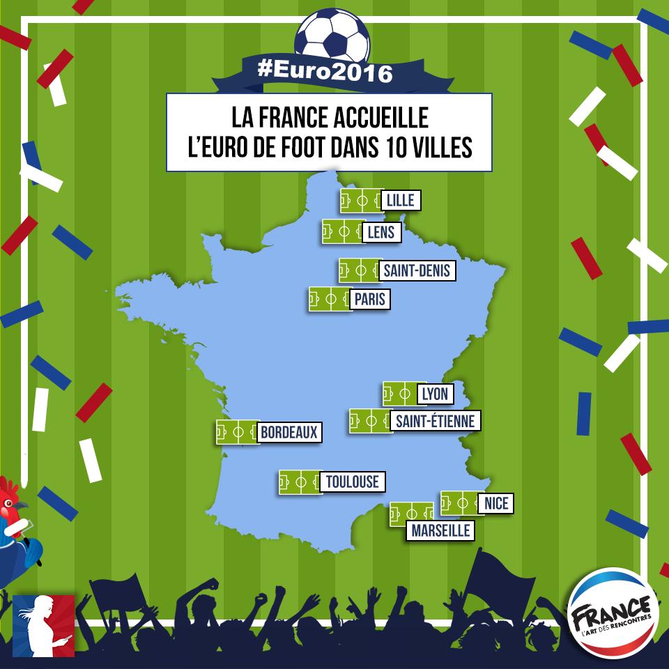 Carte des 10 villes hôtes de l'Euro 2016 - voir en plus grand