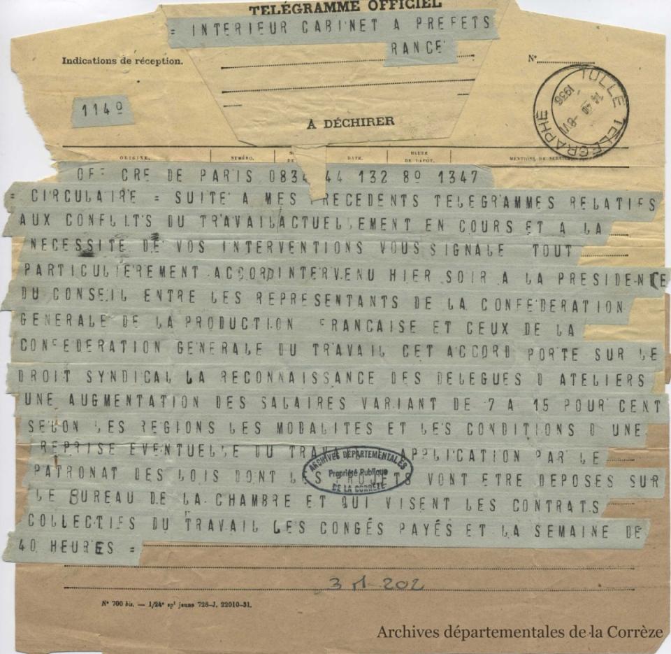 le télégramme adressé à tous les préfets de France après la signature des accords Matignon - voir en plus grand