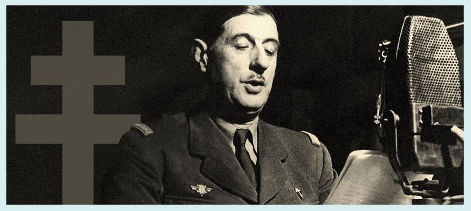Charles de Gaulle pendant l'appel du 18 juin 1940. - voir en plus grand