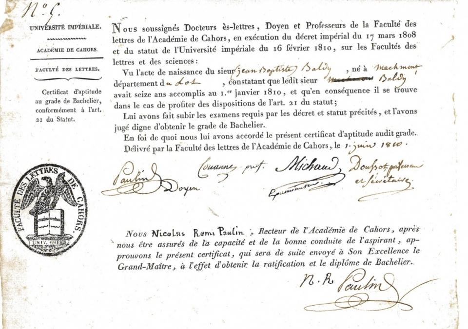 Certificat d'aptitude au grade de bachelier ès lettres (1810) - voir en plus grand