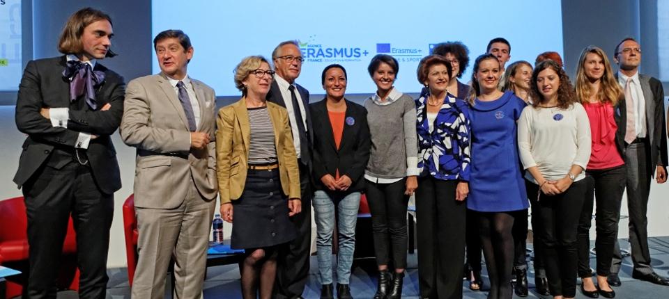 Photo prise à la Cité universitaire de Paris le 29 septembre pour le lancement national du programme Erasmus+