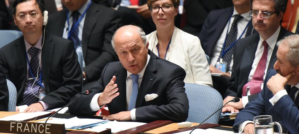 Photo de Laurent Fabius intervenant à la réunion du Conseil de sécurité de l'ONU le 19 septembre 2014.