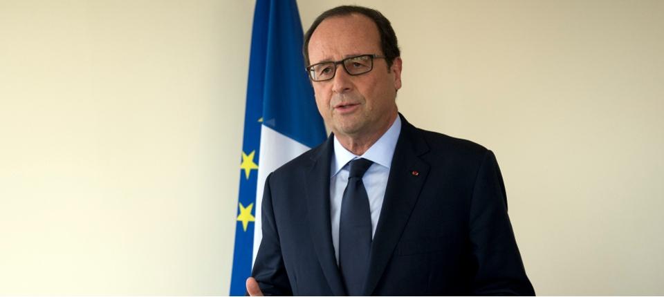 Photo du président de la République effectuant une déclarations solennelle depuis le siège de l'ONU le 24 septembre 2014.