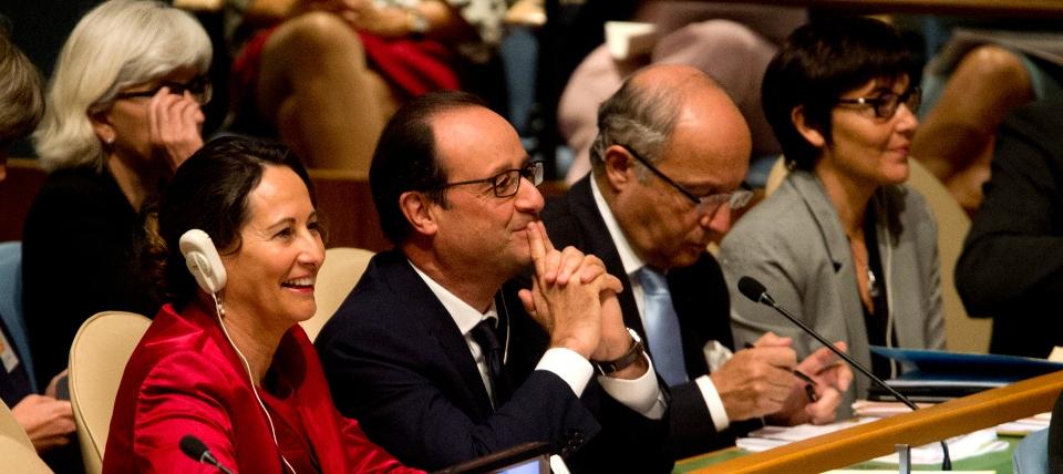 Photo de Ségolène Royal, François Hollande, Laurent Fabius et Annick Girardin à l'Assemblée générale de l'ONU sur le climat le 23 septembre 2014.