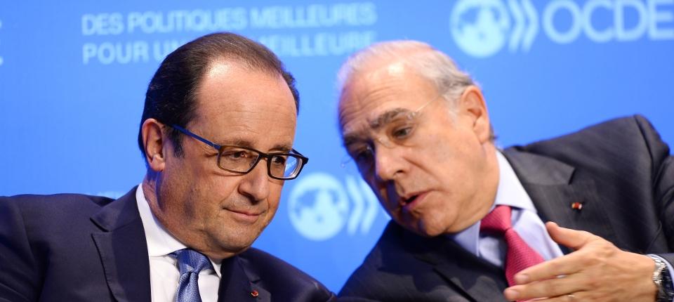 Photo de François Hollande et du secrétaire général de l'OCDE Angel Gurria le 17 octobre lors d'une rencontre avec les organisations économiques internationales