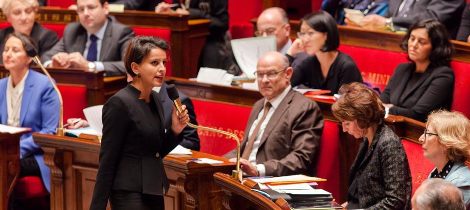 Photo de Najat Vallaud-Belkacem lors des questions d'actualité à l'Assemblée le 5 novembre 2014.