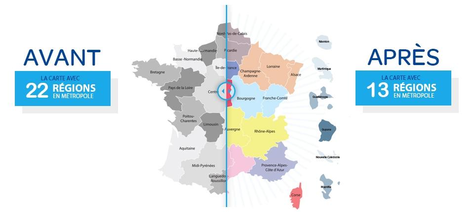 Carte des régions avant/après