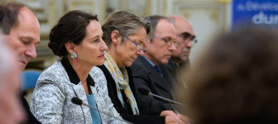 Photo de Ségolène Royal au cours de la réunion sur le barrage de Sivens le 4 novembre 2014.