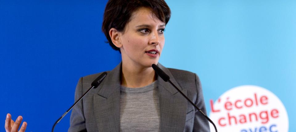 Photo de Najat Vallaud-Belkacem lors de sa conférence de presse le 17 décembre 2014.