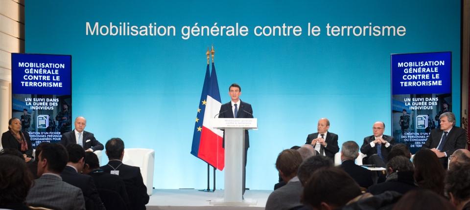 Photo de la conférence de presse de Manuel Valls du 21 janvier 2015 à l'Elysée